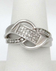 LADIES 14K WHITE GOLD 1/2ct PAVE DIAMOND UNIQUE CUT OUT SWIRL BAND RING 13mm 8