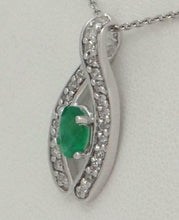 Load image into Gallery viewer, 14K WHITE GOLD 1/4ct DIAMOND 1/2ct OVAL GREEN EMERALD LUCKY PENDANT CHARM .86""