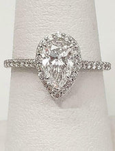 Load image into Gallery viewer, GIA 1 1/2ct PEAR DIAMOND HALO ENGAGEMENT RING in 14K WHITE GOLD