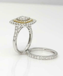 14k TWO TONE GOLD 2.00ct ROUND DIAMOND PAVE DOUBLE HALO ENAGEMENT WEDDING SET