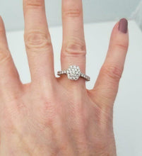 Load image into Gallery viewer, LADIES NEW 14k WHITE GOLD .82ct ROUND DIAMOND CLUSTER FLOWER RING