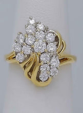 Load image into Gallery viewer, 14k YELLOW GOLD 1.00ct ROUND CUBIC ZIRCONIA CLUSTER CASCADE CLUSTER RING