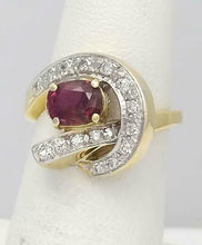 Load image into Gallery viewer, 14k YELLOW GOLD 1.00ct OVAL NATURAL RUBY .15ct ROUND DIAMOND SWIRL RING