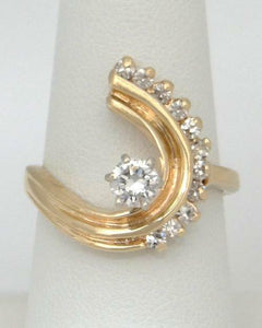 LADIES 14K YELLOW 1/2ct DIAMOND ROUND SOLITAIRE ACCENTS SWIRL ENGAGEMENT RING