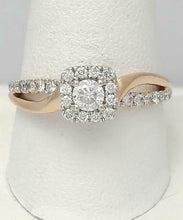 Load image into Gallery viewer, 14k ROSE GOLD 3/4ct ROUND DIAMOND HALO FILIGREE SPLIT SHANK ENGAGEMENT RING