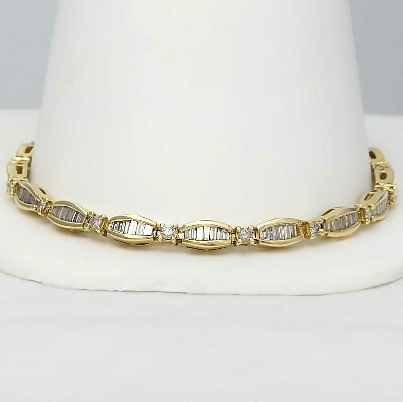 10k YELLOW GOLD 3.00ct ROUND BAGUETTE DIAMOND CHANNEL SET TENNIS BRACELET 8 1/4