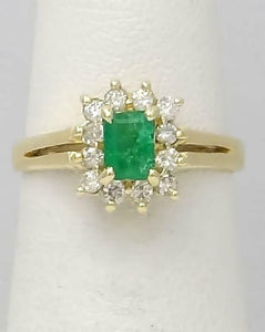14k YELLOW GOLD 1/2ct GREEN EMERALD 1/4ct ROUND DIAMOND HALO BALLERINA RING