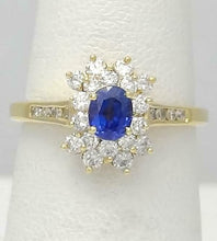 Load image into Gallery viewer, LADIES 18k YELLOW GOLD .25ct OVAL BLUE SAPPHIRE 1/2ct ROUND DIAMOND HALO RING