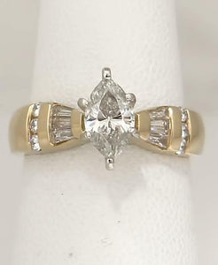 LADIES 14k YELLOW GOLD MARQUISE 1 1/4ctw DIAMOND SOLITAIRE ENGAGEMENT RING