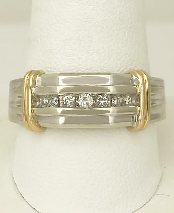MENS 10k TWO TONE GOLD 1/5ct ROUND DIAMOND SEVEN STONE RIBBED WEDDING BAND RING