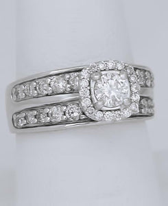 LADIES 14k WHITE GOLD 1 1/4ct ROUND DIAMOND HALO WIDE BAND ENGAGEMENT RING