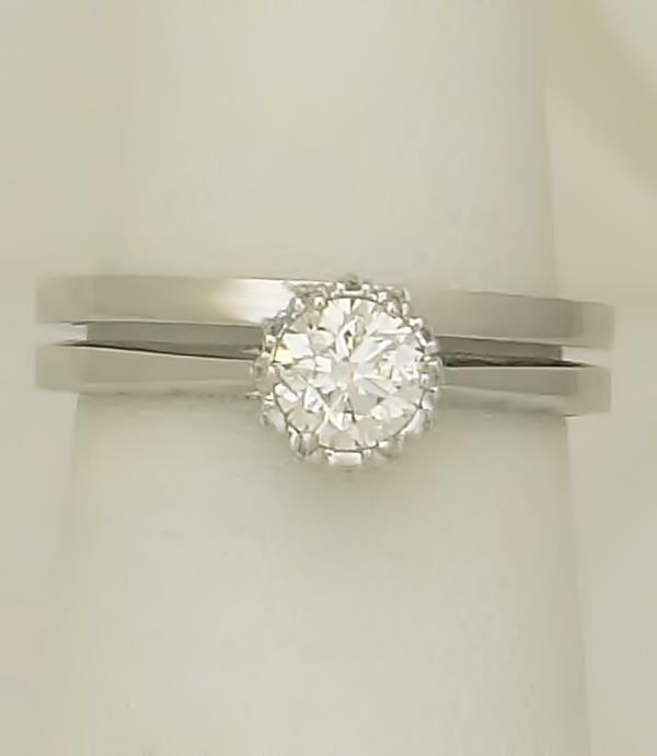 18k WHITE GOLD TACORI .65ct ROUND DIAMOND SOLITAIRE ENGAGEMENT WEDDING RING SET