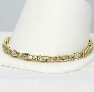 10k YELLOW GOLD 3.00ct ROUND BAGUETTE DIAMOND CHANNEL SET TENNIS BRACELET 8 1/4""