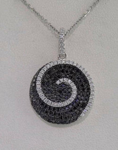 LADIES 925 STERLING SILVER SWIRL CIRCLE BLACK CLEAR ROUND CZ PENDANT CHARM 3.2g