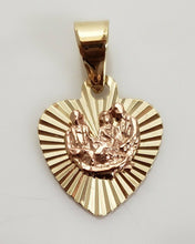 Load image into Gallery viewer, 14K YELLOW ROSE GOLD FAMILY RIBBED HEART SMALL PENDANT CHARM .80""