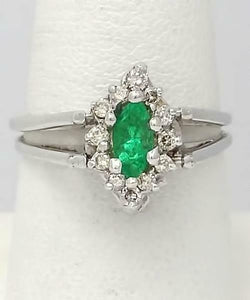 14k WHITE GOLD .44ctw MARQUISE EMERALD 1/2ct ROUND DIAMOND MAY DOUBLE FLIP RING