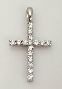 14k WHITE GOLD .40ctw ROUND DIAMOND CROSS PENDANT 1""