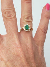 Load image into Gallery viewer, 14k YELLOW GOLD 1/2ct GREEN EMERALD 1/4ct ROUND DIAMOND HALO BALLERINA RING