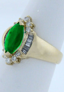 14K YELLOW GOLD 1 1/2ct MARQUISE EMERALD BALLERINA RING