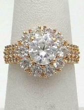 Load image into Gallery viewer, 14K YELLOW GOLD 7mm 2.00ct CZ ROUND HALO RING