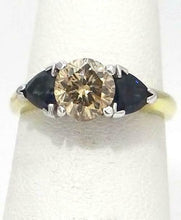Load image into Gallery viewer, 1.14ct BROWN DIAMOND & SAPPHIRE ENGAGEMENT RING in 18K YELLOW GOLD