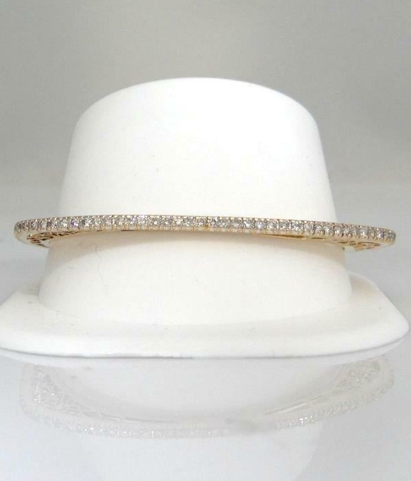 14K YELLOW GOLD 3.00ct DIAMOND FILIGREE TRIANGULAR OVAL BANGLE BRACELET 7 1/2