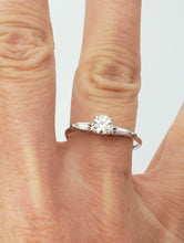 Load image into Gallery viewer, LADIES 14k WHITE GOLD .38ct ROUND & BAGUETTE DIAMOND THREE STONE ENGAGEMENT RING