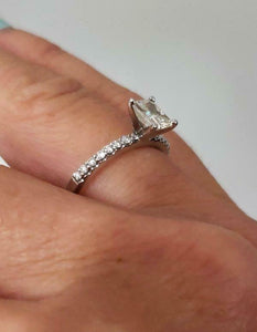 .75ct RADIANT CUT DIAMOND ENGAGEMENT PAVE RING in 14K WHITE GOLD