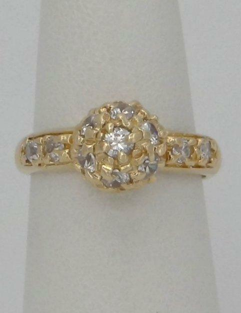 18K YELLOW GOLD 1/2ct ROUND CUBIC ZIRCONIA BALL RING