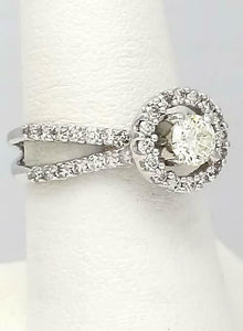 18k WHITE GOLD PAVE DOUBLE BAND 1 1/4ct ROUND DIAMOND HALO ENGAGEMENT RING