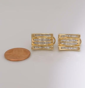 10k YELLOW GOLD FOUR ROW BAGUETTE 1.00ct DIAMOND EARRINGS .67""