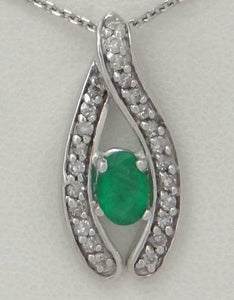 14K WHITE GOLD 1/4ct DIAMOND 1/2ct OVAL GREEN EMERALD LUCKY PENDANT CHARM .86""