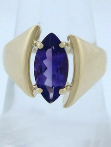 14K YELLOW GOLD PURPLE MARQUISE 12x6 AMETHYST SOLITAIRE RING