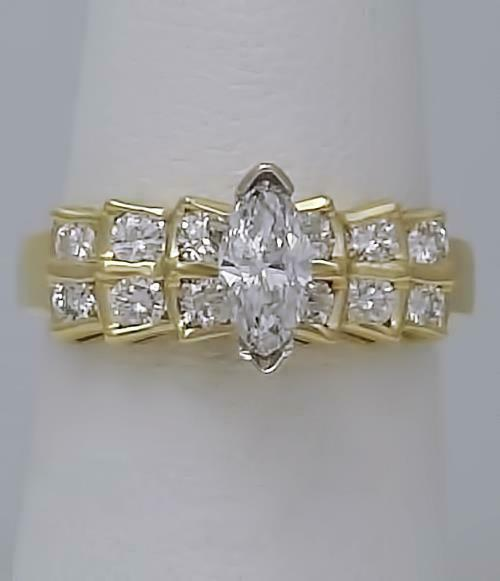 14k YELLOW GOLD 1.00ct MARQUISE ROUND DIAMOND CASCADE SOLITAIRE ENGAGEMENT RING