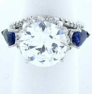 11.65ct ROUND CZ ENGAGEMENT RING 18K WHITE GOLD SEMI MOUNT