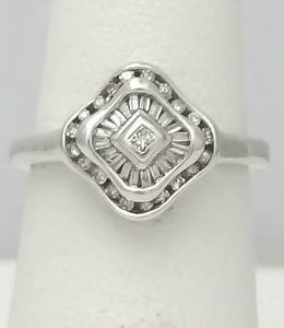 14k wHITE GOLD 1/4ct PRINCESS CUT BAGUETTE ROUND DIAMOND CHANNEL SET HALO RING
