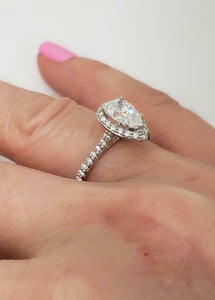 GIA 1 1/2ct PEAR DIAMOND HALO ENGAGEMENT RING in 14K WHITE GOLD