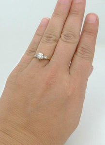 VINTAGE 14K YELLOW GOLD 1/4ct THREE DIAMOND PROMISE ENGAGEMENT RING