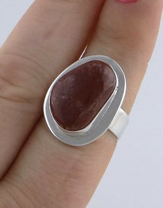 LADIES STERLING SILVER CUSTOM CUT BROWN AGATE SOLITAIRE FINE JEWELRY RING
