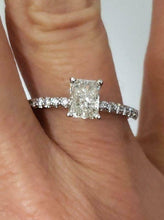 Load image into Gallery viewer, .75ct RADIANT CUT DIAMOND ENGAGEMENT PAVE RING in 14K WHITE GOLD