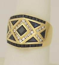 Load image into Gallery viewer, LADIES 18k YELLOW GOLD 3/4ct PRINCESS TRILLION CUT SAPPHIRE 1/3ct DIAMOND RING