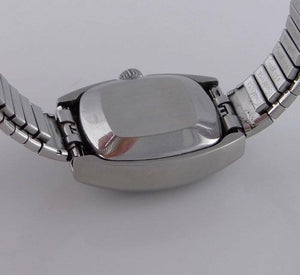 LADIES STAINLESS STEEL VINTAGE BUCHERER STRETCH AUTOMATIC DAY DATE WATCH 7 1/2""