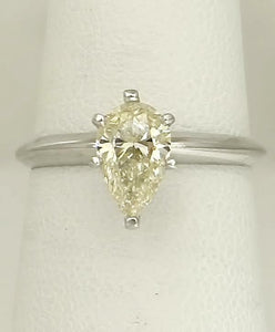 LADIES NEW 14k WHITE GOLD 1.04ct VVS2 PEAR CUT DIAMOND SIX PRONG ENGAGEMENT RING
