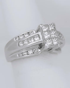 14k WHITE GOLD NATURAL PRICESS ROUND 2.00ct DIAMOND RECTANGLE ENGAGEMENT RING