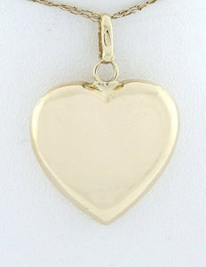 14K YELLOW GOLD PUFF HOLLOW HEART PENDANT