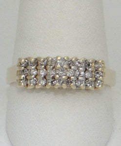 14K YELLOW GOLD 3 THREE ROW 1/2ct DIAMOND CATHEDRAL ANNIVERSARY RING