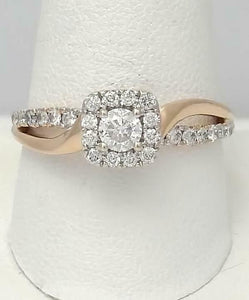14k ROSE GOLD 3/4ct ROUND DIAMOND HALO FILIGREE SPLIT SHANK ENGAGEMENT RING