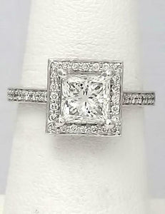 1.85 CT. TW PRINCESS CUT DIAMOND HALO ENGAGEMENT RING in 14k WHITE GOLD