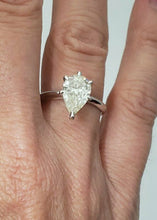 Load image into Gallery viewer, LADIES 14K WHITE GOLD PEAR SHAPED 2.00ct DIAMOND SOLITAIRE ENGAGEMENT RING 13mm