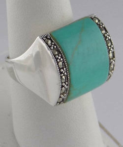 925 STERLING SILVER TURQUOISE MARCASITE CUSTOM WIDE RING